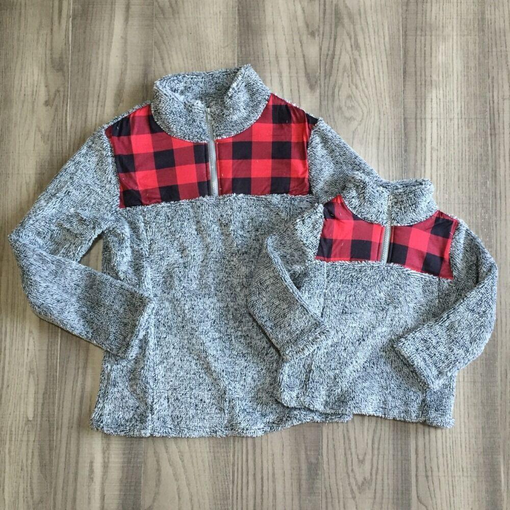 GirlyMax clothes mom me top baby girls plaid plush raglan mom daughter sherpa top