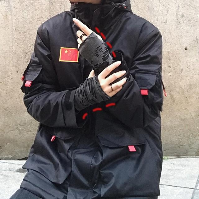 Punk Black Broken Slit Gothic Unisex Glove Fingerless Cuff Ninja Sport Hole Mitten 2021 Cool Women Men Hollow Out Rock Gloves 4