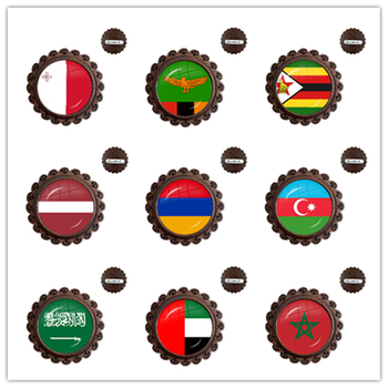 Malta Zambia Zimbabwe Latvia Armenia Azerbaijan Saudi Arabia UAE Morocco National Flag Wood Glass Cabochon Brooches Collar Pins image
