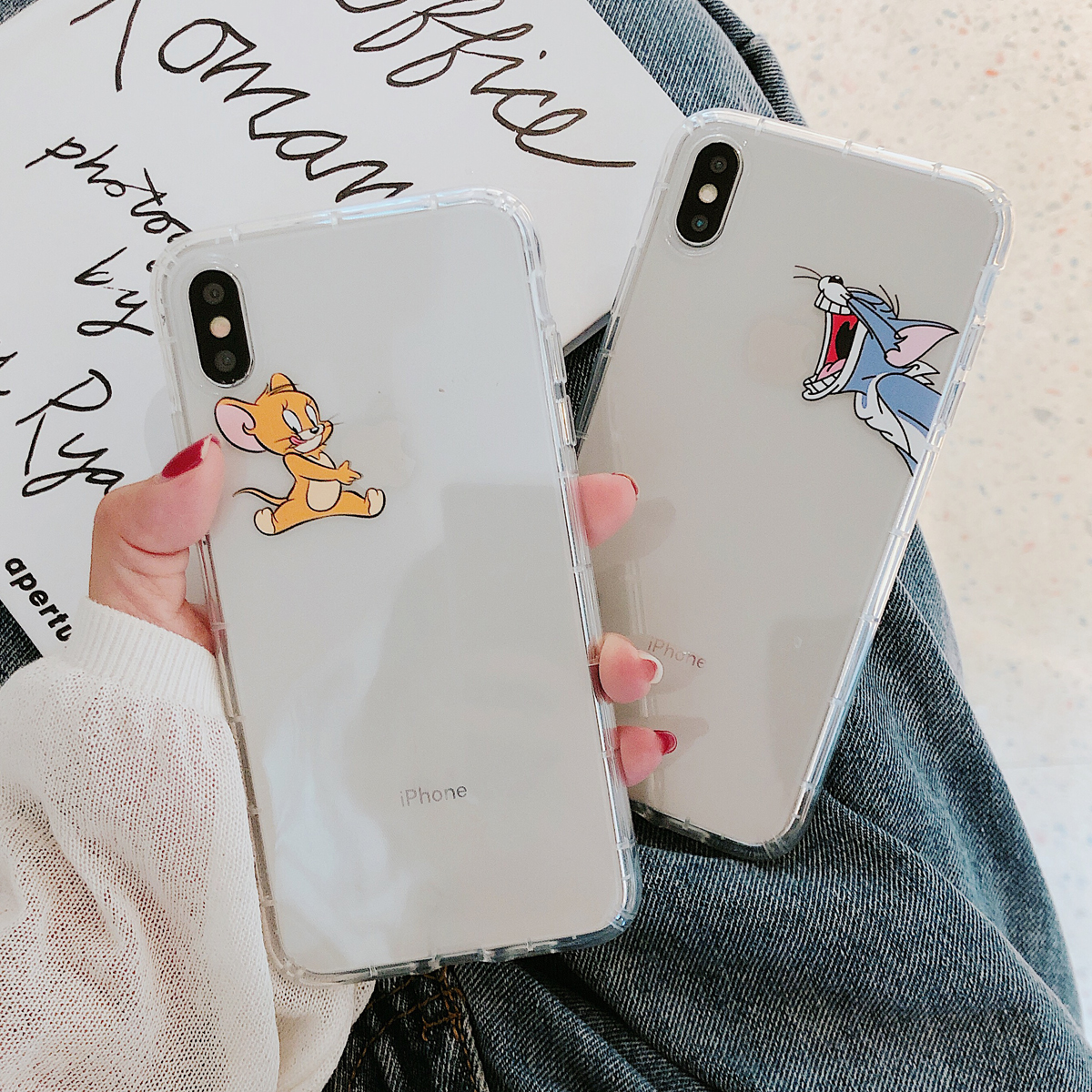 Cute Lovely Mouse <font><b>Cat</b></font> Jerry Tom <font><b>Case</b></font> For <font><b>iphone</b></font> 6 6S 7 <font><b>8</b></font> Plus X XR XS Max Cover Ip 6plus 7plus 8plus XsMax Soft <font><b>Cases</b></font> Shockproof image