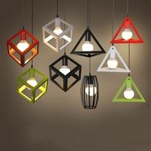 Lámparas colgantes clásicas nórdicas de hierro, jaula minimalista para pisos, lámpara con dije de pirámide, lámpara colgante de Metal Industrial moderna, lámpara LED E27 para salón