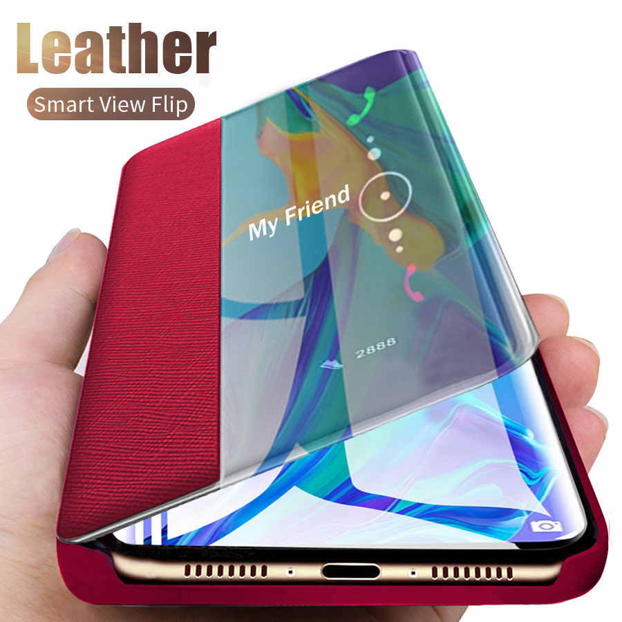 Smart View Leather Case For Samsung Galaxy A50 A51 A71 Catatan 10 9 8 S10e Lite S20 Ultra S8 S9 plus S7 A7 A9 A6 J6 J4 Flip Cover
