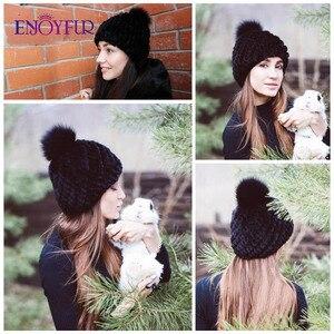 Image 5 - ENJOYFUR chapeaux en fourrure de vison pour femmes, bonnet en fourrure de renard tissé à la main, bonnet en laine chaude, doublure russe pour femmes