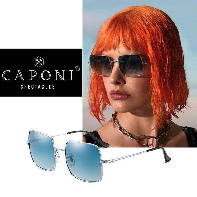 CAPONI Fashion Square Polarized Sunglasses Women 2020 New Brand Design Metal Frame Big Sun Glasses Gradient Lenes Oculos CP1971