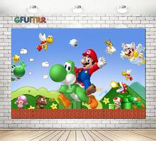 GFUITRR Cartoon Game Character Marios Photography Backdrops Kids Birthday Party Photo Background Blue Vinyl Photo Studios Props