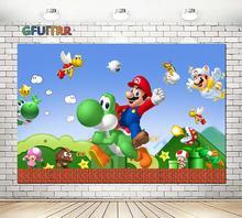GFUITRR Cartoon Game Character Marios Photography Backdrops Kids Birthday Party Photo Background Blue Vinyl Photo Studios Props