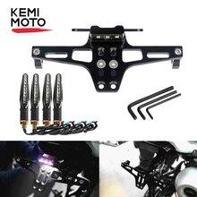KEMiMOTO Универсальный держатель номерного знака регулируемый держатель номерного знака Кронштейн светодиодный для Honda Для Yamaha сигнальные огни