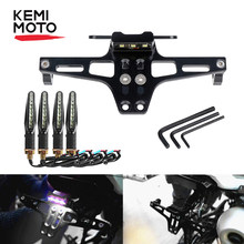 KEMiMOTO Motorcycle Fender Eliminator Adjustable License Plate Holder Bracket LED For HONDA CBR 125R For KTM 390 690 duke Z650(China)