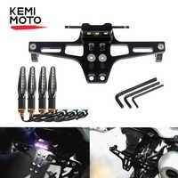 KEMiMOTO Motorcycle Fender Eliminator Adjustable License Plate Holder Bracket LED For HONDA CBR 125R For KTM 390 690 duke