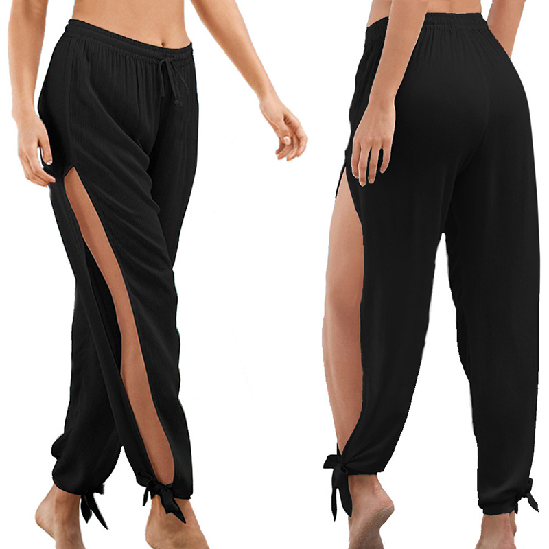 Women Pants Drawstring Elastic Waist Side Split Harem Pants Wide Leg Bow Beach Trousers