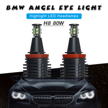 2pcs 80W H8 LED Angel Eyes Car LED Halo Ring Marker Bulbs Light  6500K White Error Free fit for BMW E90 E92 E93 Cars Auto