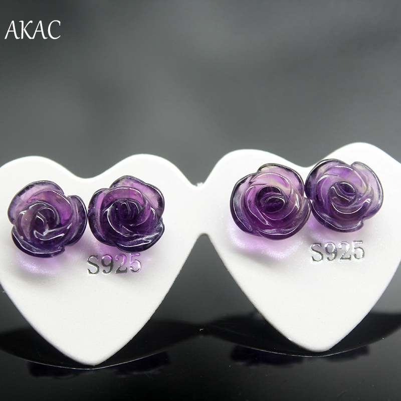 AKAC natural amethyst rose frower shape simple design women stud earring title=