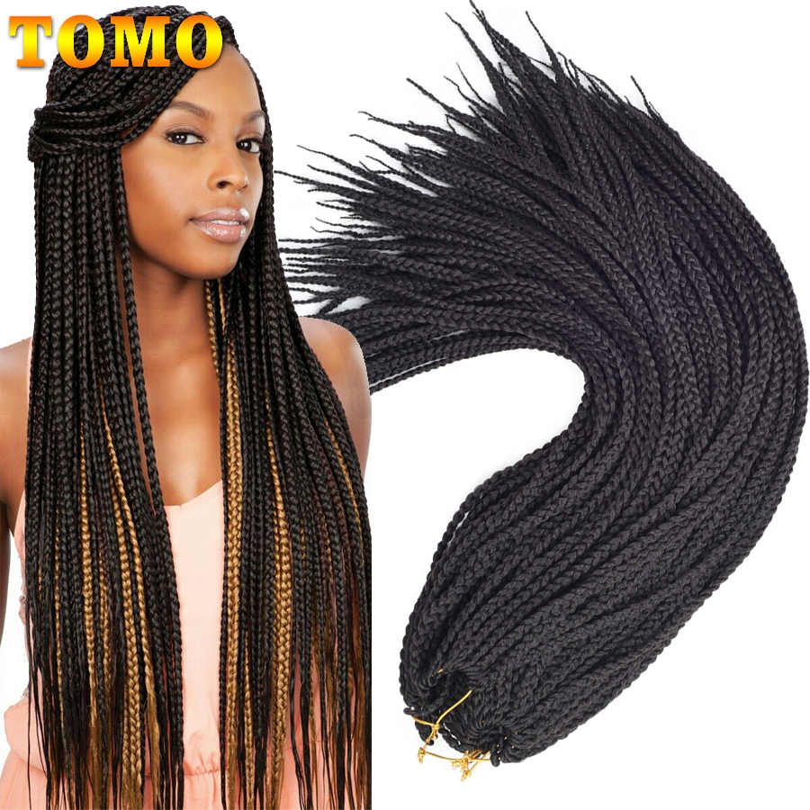"TOMO 22Roots/Pack Box Braid Crochet Hair 14"" 18"" 22""  Ombre Synthetic Braiding Hair Extensions for Women Red Crochet Braids"