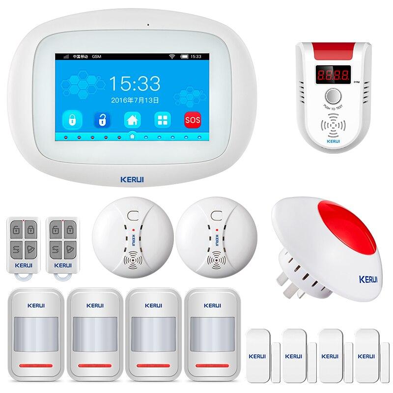 KERUI K52 WIFI GSM Alarm Systeme Panel 4,3 Zoll TFT Farbe Display Sicherheit Hause Smart Wohn Drahtlose Alarmanlage Kit