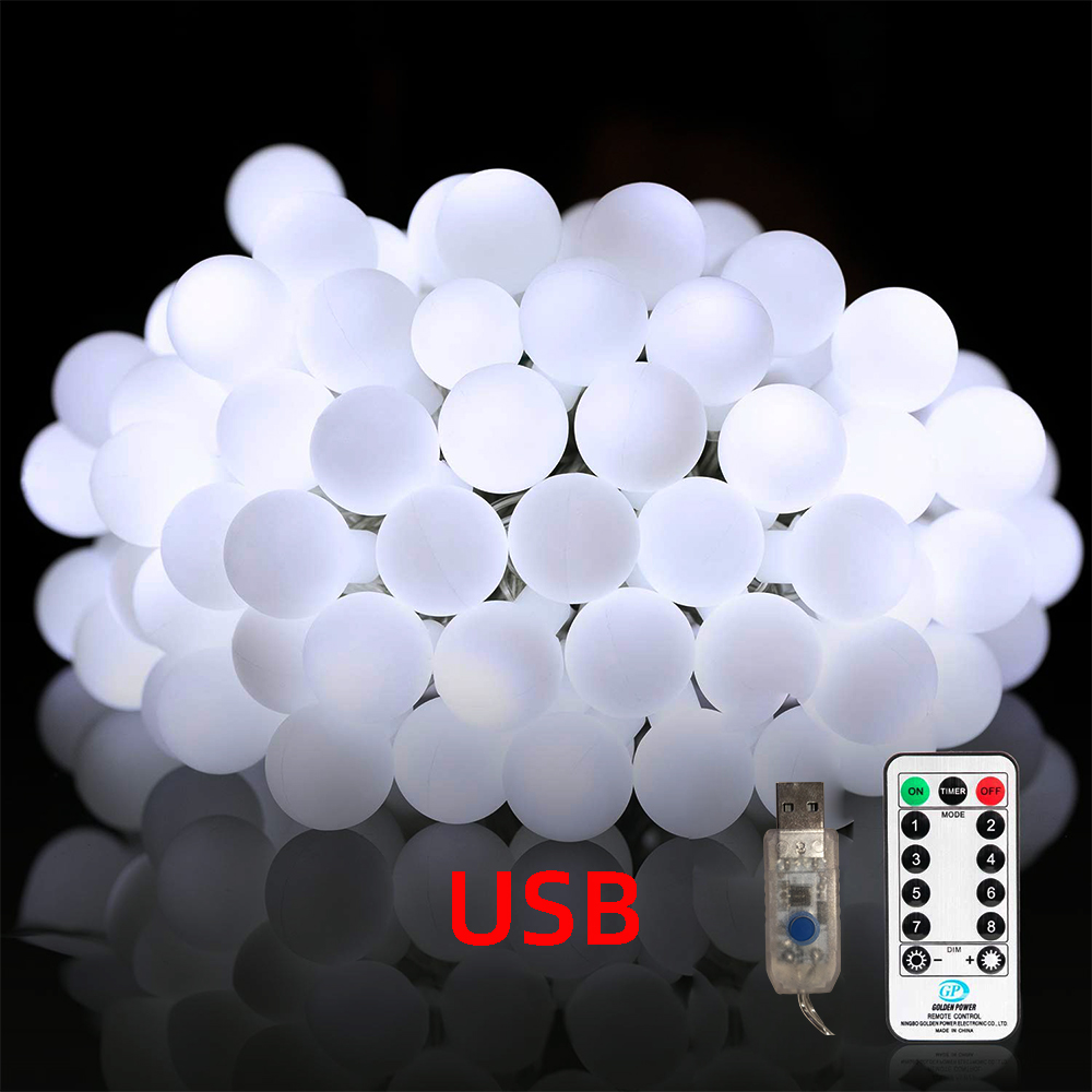 USB Remote Control Ball Light String Christmas Fairy Light Garlands For Wedding Party Indoor Outdoor Lighting Holiday Decoration