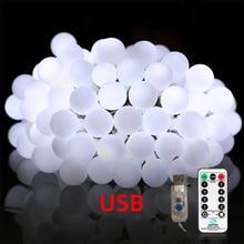 цены USB remote control ball light string Christmas Fairy Light Garlands For Wedding Party indoor outdoor lighting Holiday Decoration