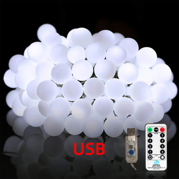 USB remote control ball light string Christmas Fairy Light Garlands For Wedding Party indoor outdoor lighting Holiday Decoration 5m 20led 10m 35led big ball string light indoor outdoor decorative fairy lighting for christmas trees patio party