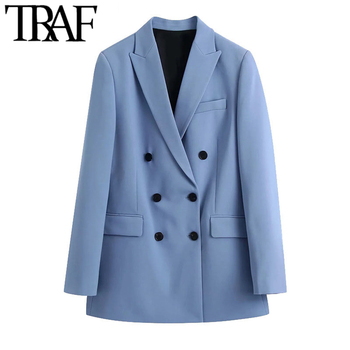 TRAF Women Fashion Double Breasted Loose Fitting Blazer Coat Vintage Long Sleeve Pockets Female Outerwear Chic Veste Femme