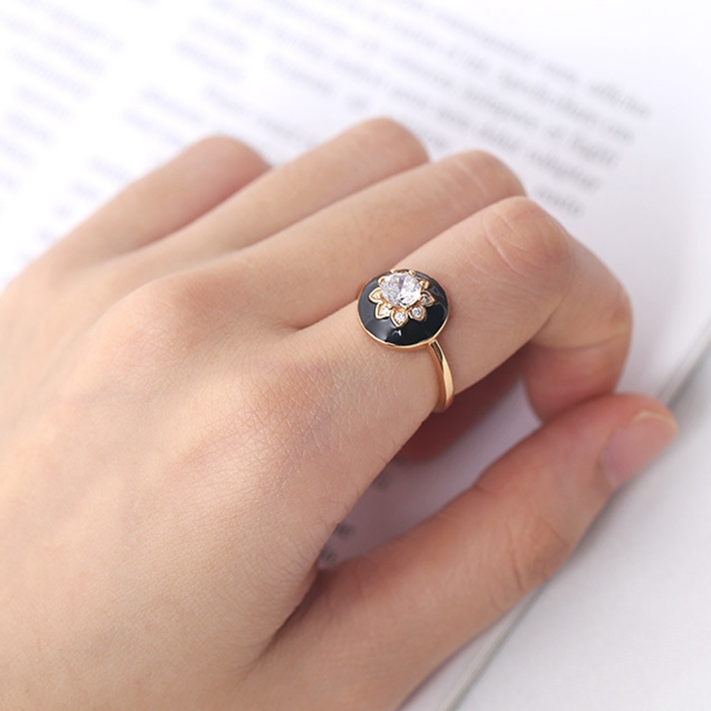 Silvology 925 Sterling Silver Zircon Flower Rings Round Black Drop Glaze Creative Luxury Rings For Women Festival Jewelry Design