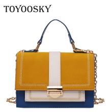 TOYOOSKY Retro Female Square Bag New High Quality Matte Leather Womens Designer Handbag Panelled Chain Shoulder Messenger Bags