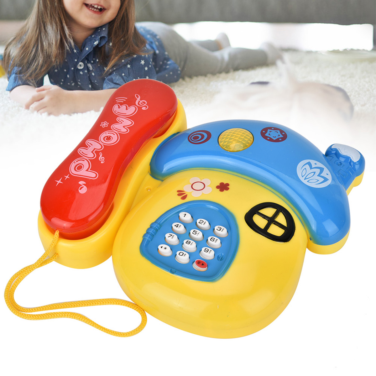 Electronic Toy Phone Kids Educational Learning Toys Mushroom Plastic Telephone Toy Kids Early Education Gift With Music Light