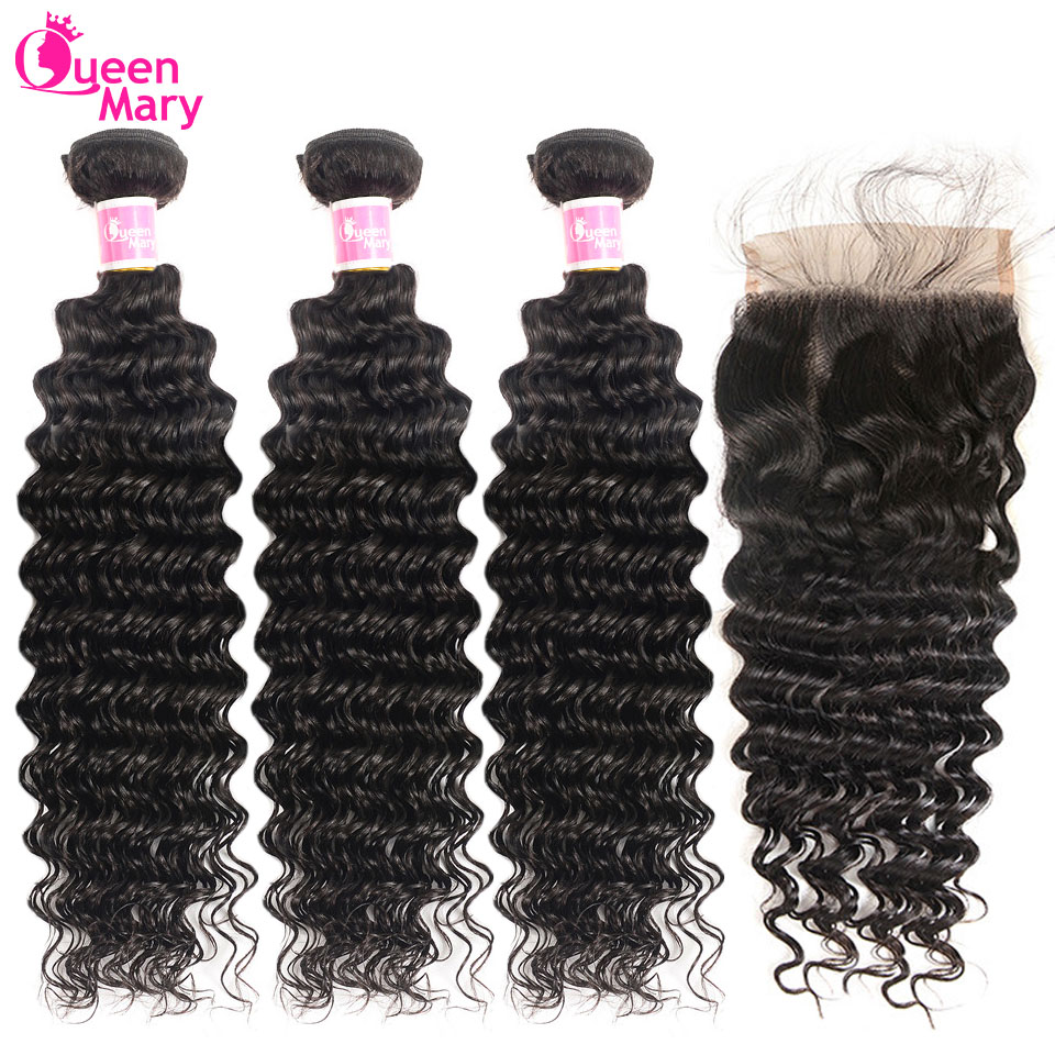Deep Wave Bundles With Closure Peruvian Human Hair Bundles With 5x5 Lace Closure 10''-26''Non Remy Hair Extensions Queen Mary