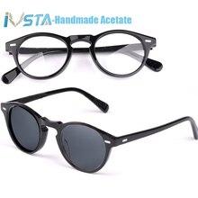 IVSTA OV 5186 logo ile Gregory Peck asetat gözlük kadınlar yuvarlak polarize güneş gözlüğü marka tasarımcı kutusu miyopi optik