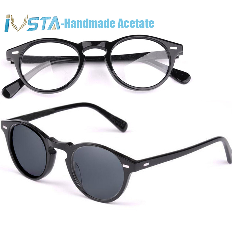 IVSTA OV 5186 with logo Gregory Peck Acetate Glasses Women Round Polarized Sunglasses Brand Designer with Box Myopia Optical-in Men's Eyewear Frames from Apparel Accessories