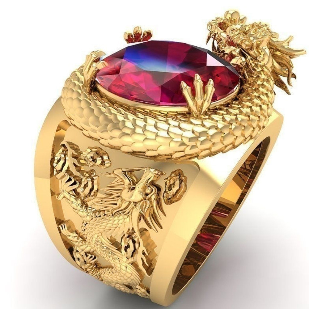 Huitan Luxury Gold Color Dragon Pattern Men Rings Inlaid Big Oval Red Stone Noble Wedding Party Finger Rings Male Trendy Jewelry
