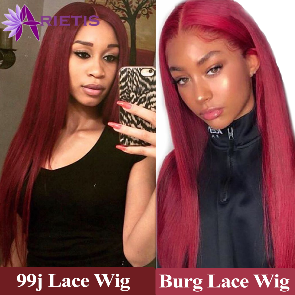 99J Glueless Lace Front Human Hair Wigs Brazilian Remy Straight Human Hair Wig Pre Plucked With Baby Hair Burgundy Lace Wig