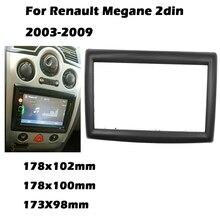 Podwójna ramka wykończeniowa radia samochodowego 2DIN dla RENAULT Megane II 2003 2009 ramka stereo facia panel zestaw do montażu na desce rozdzielczej adapter ramka Bezel