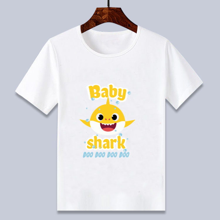 T-Shirt Cartoon Baby Shark Tops Printed Boys/girls Summer 3D for 4 6 8 10-12-T Tee