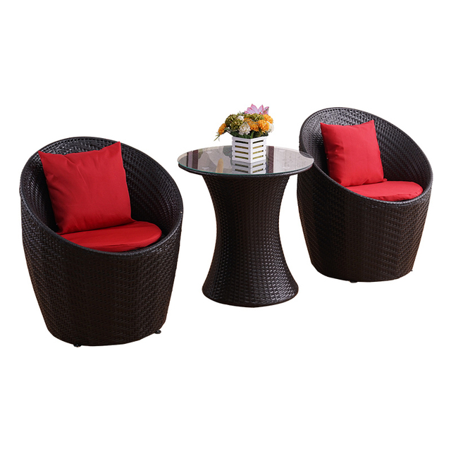 Rattan Outdoor Round Table w/Chairs 2