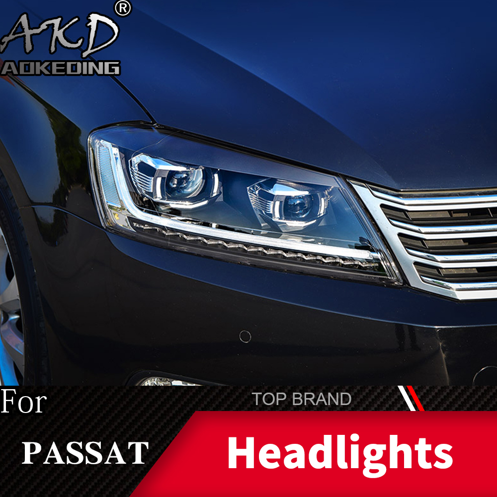 Head Lamp For Car VW Passat B7 2012 2016 Magotan Headlights Fog Lights Daytime Running Lights DRL H7 LED Bi Xenon Bulb Accessory - 4