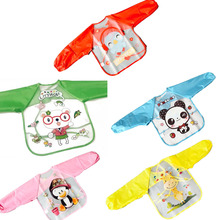 цена на Baby Bibs Waterproof Kid Eating Clothing Children's Long Sleeves Feeding Smock Bib Baby Apron Bandana Bibs baby bibs newborn