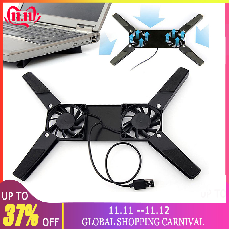 Laptop Desk Support Dual Cooling Fan Notebook Computer Stand Foldable USB Rack Holder Black New