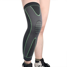 A pair of knitted nylon sports lengthened knee pads for men and women autumn and winter to protect the big leg basketball footba