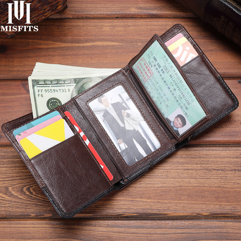 MISFITS Genuine Leather Trifold Men Wallets Vintage Hasp Short Purse Big Capacity Card Holder Coin Pocket Cowhide Male Carteira