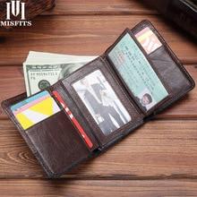 MISFITS Genuine Leather Trifold Men Wallets Vintage Hasp Short Purse Big Capacity Card Holder Coin Pocket Cowhide Male Carteira