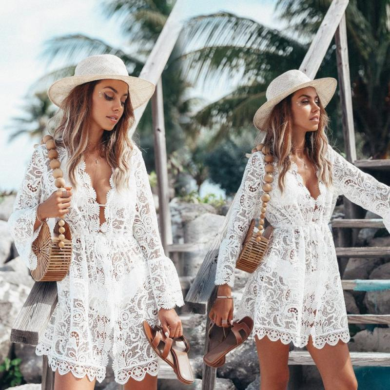 2019 Fashion Sexy Summer Hollow Out White Blouse Beach Holiday Lace Dress Sexy Bikini Swimsuit Long Blouse