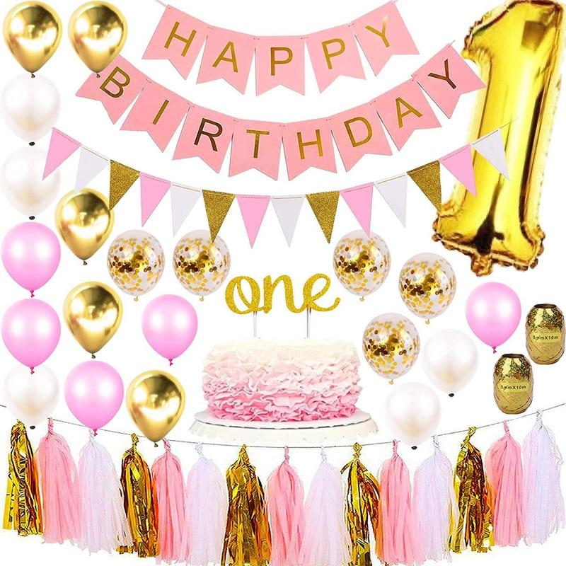 Girl 1st Birthday Party Decoration Balloons Cake Topper Formal Hat Banner Set Large Foil Digital 1 Pink Theme Baby Shower Ballon