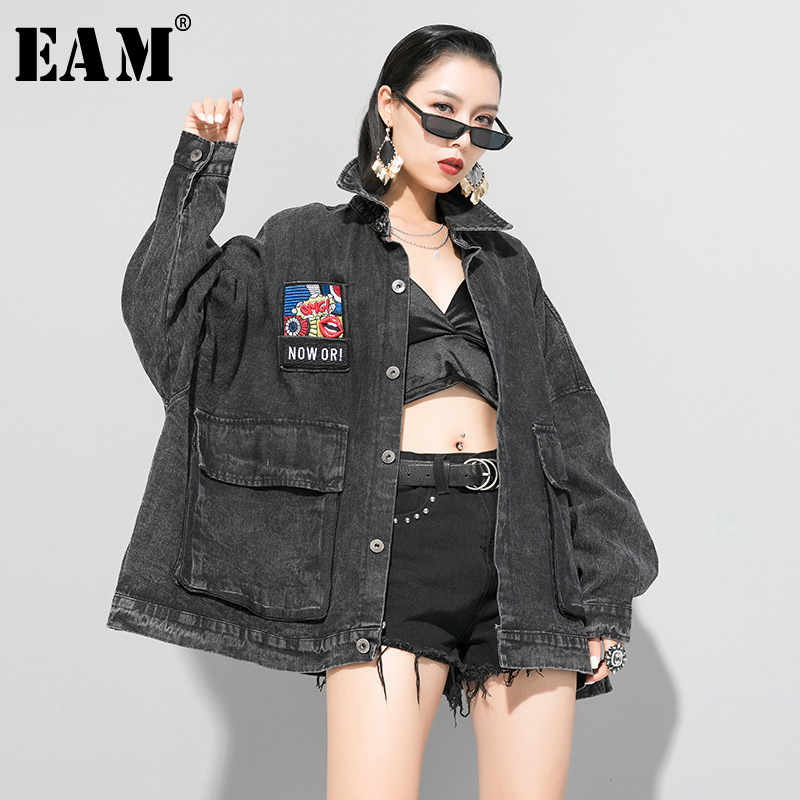 [EAM] Loose Fit Black Big Pocket Denim Split Big Size Jacket New Lapel Long Sleeve Women Coat Fashion Tide Spring 2020 1R638