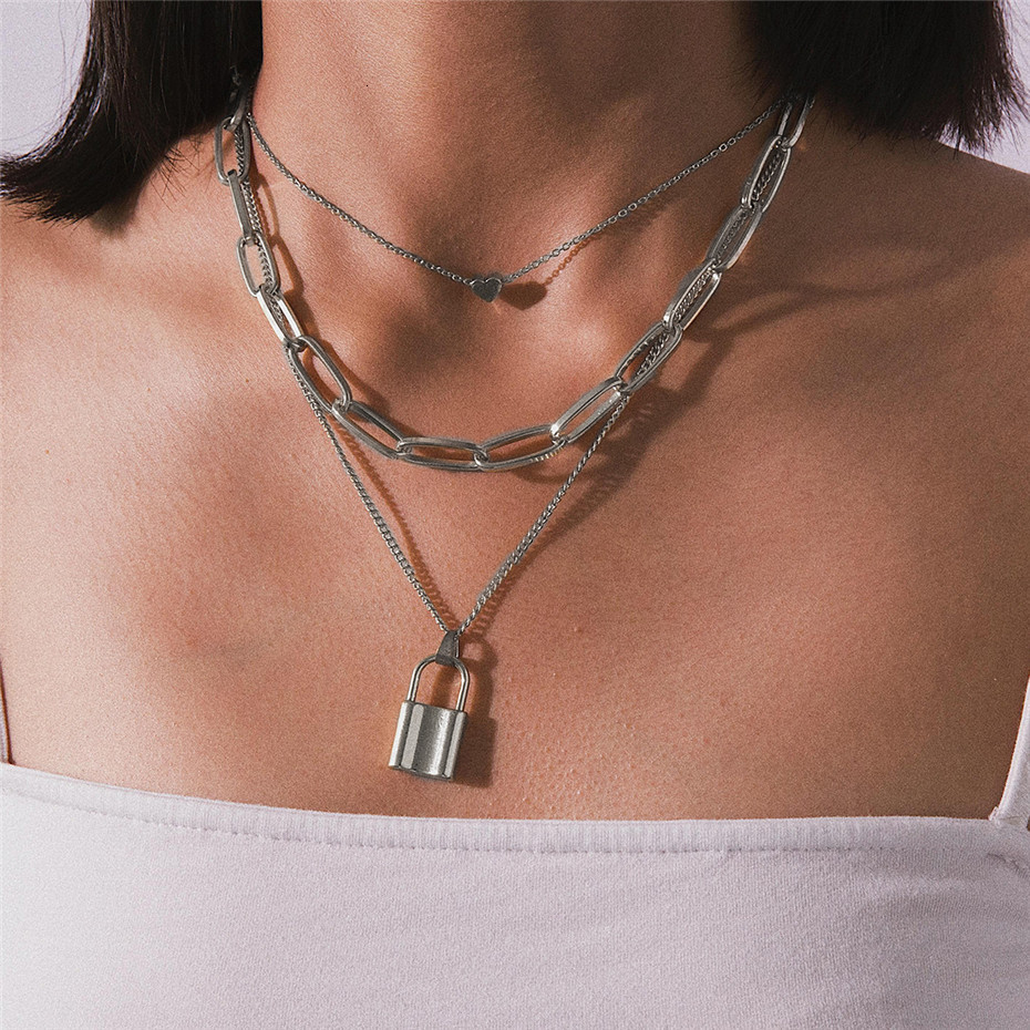 Ingemark Multi Layer Lover Lock Pendant Choker Necklace Steampunk Padlock Heart Chain Necklace Collier Best Couple Jewelry Gift 4