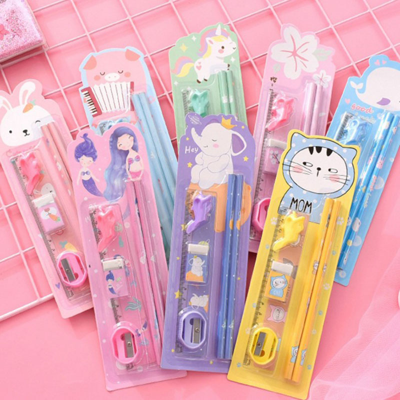 6Pcs/Pack Kawaii Pencil Eraser Ruler Artoon Animals Stationery Set For Kids Students Gift School Supplies