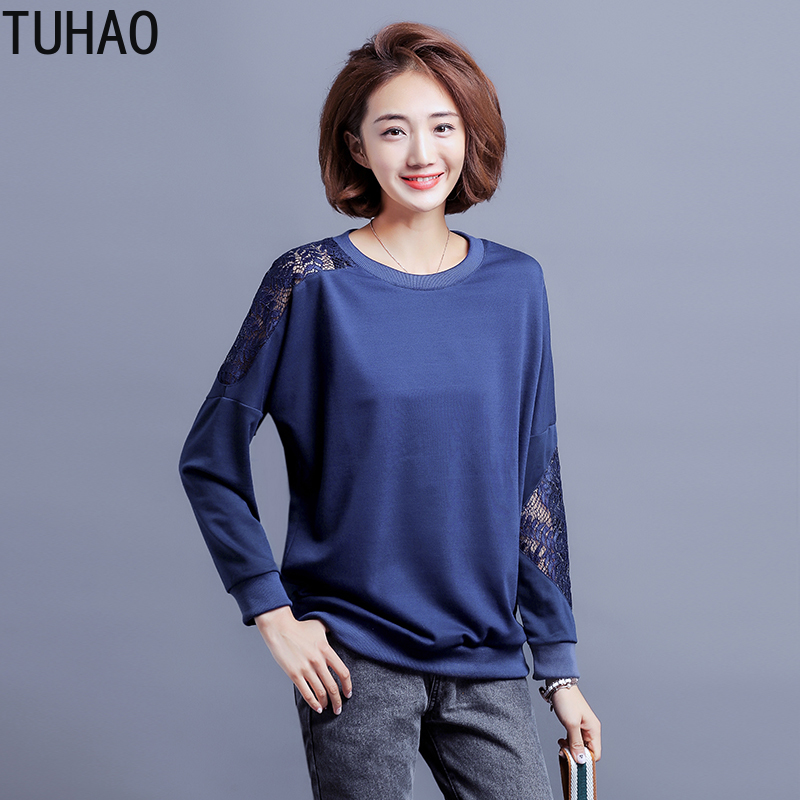 TUHAO 2019 Large Size 5XL 4XL 3XL Women's Autumn Lace Hollow Out Casual Long Sleeve Pullover Sweater Hoodies Sweatshirt WM48