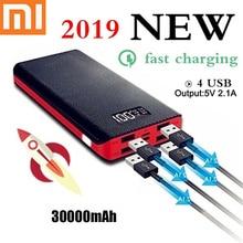 Xiao mi power Bank 30000 мАч 4 USB портативное зарядное устройство QC 3,0 кожаный корпус светодиодный ЖК-аккумулятор для mi Iphone 7 8 Прямая поставка