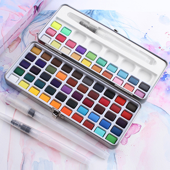 High Quality 50/72/90 Colors Solid Watercolor Paints Set Basic Neone Glitter Paint for Drawing Art Supplies - discount item  46% OFF Art Supplies