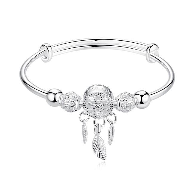 Adjustable 925 Sterling Silver Dreamcatcher Tassel Feather Round Bead Charm Bracelet &Bangle For Women Elegant Jewelry sl209 4