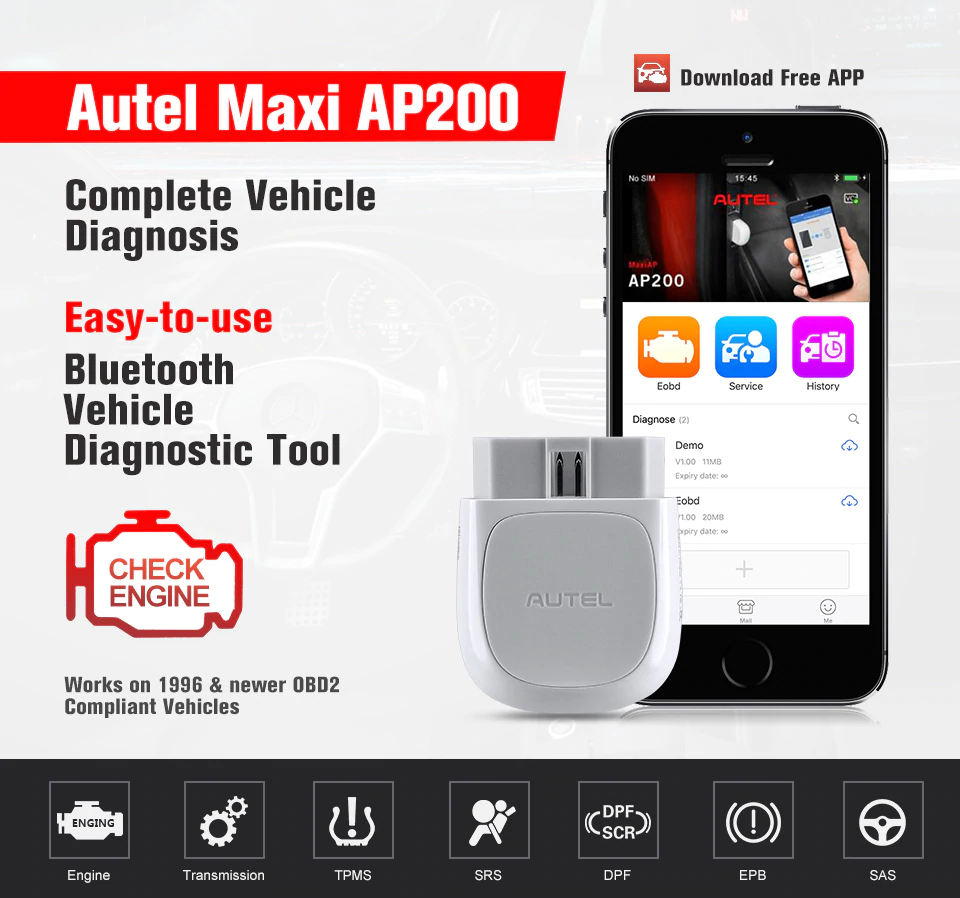 Autel AP200 Bluetooth OBD2 Scanner Code Reader Met Volledige Systemen Diagnoses Autovin Tpms Immo Service Familie Diyers Pk Easydiag