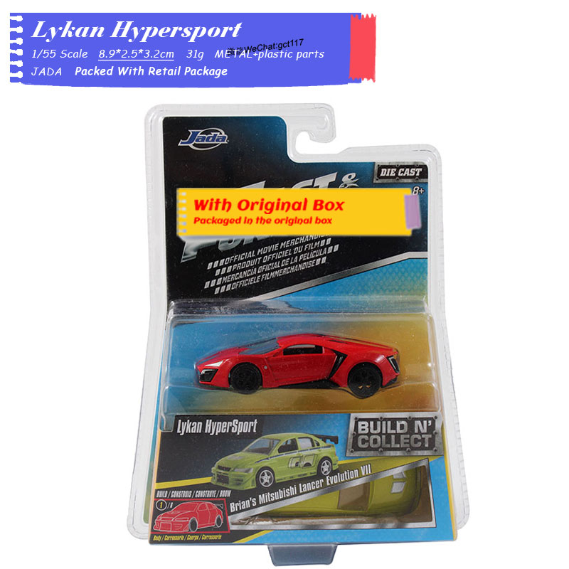 JADA 1/64 Scale Car Model Toys Build N' Collect Lykan Hypersport,Daytona Diecast Metal Car Model Toy For Gift,Kids,Collection
